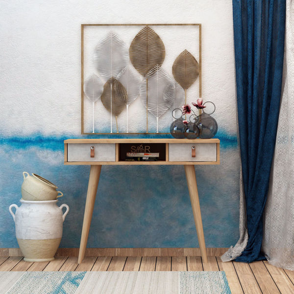 Picture of Nancy's Bell Gardens Wall Furniture - Scandinavian - Brown, White - Fabricated Wood, Leather - 30 cm x 100 cm x 87.6 cm