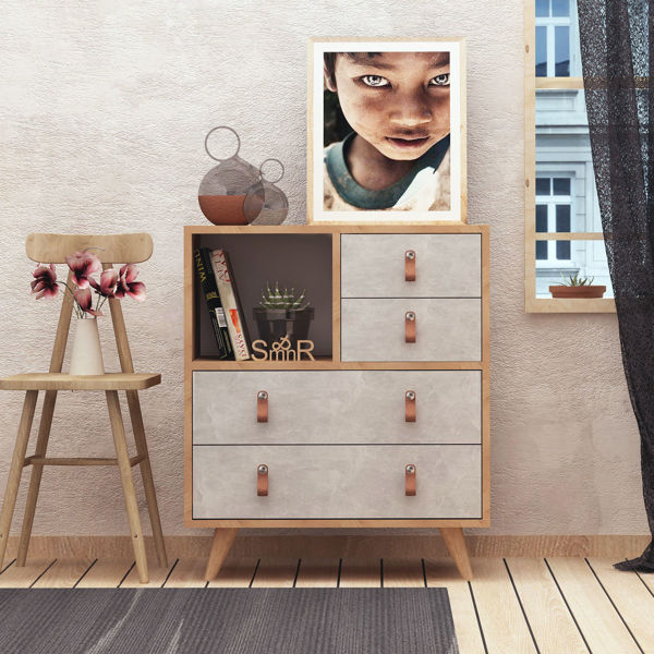 Picture of Nancy's Maplewood Sideboard - Scandinavian - Brown, Grey - Fabricated Wood, Leather - 40 cm x 70 cm x 88.6 cm