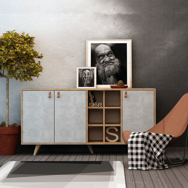Picture of Nancy's Strongsville Dresser - Scandinavian - Brown, Grey - Fabricated Wood, Leather - 40 cm x 140 cm x 89 cm