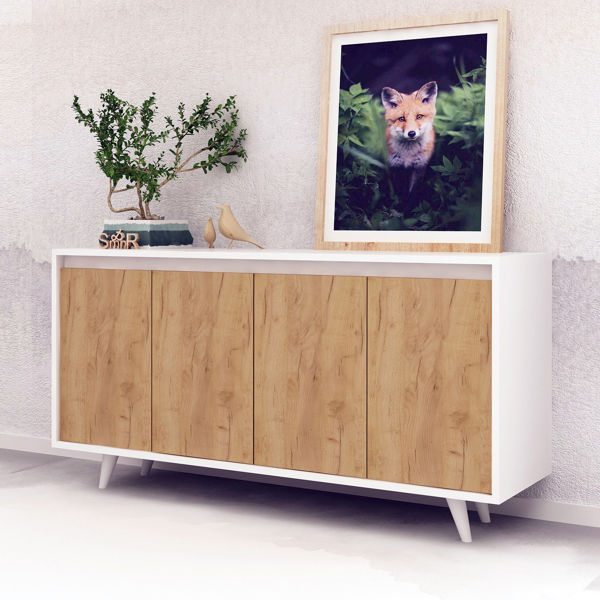 Picture of Nancy's Indian Trail Dresser - Scandinavian - Brown, White - Fabricated Wood - 40 cm x 140 cm x 86 cm