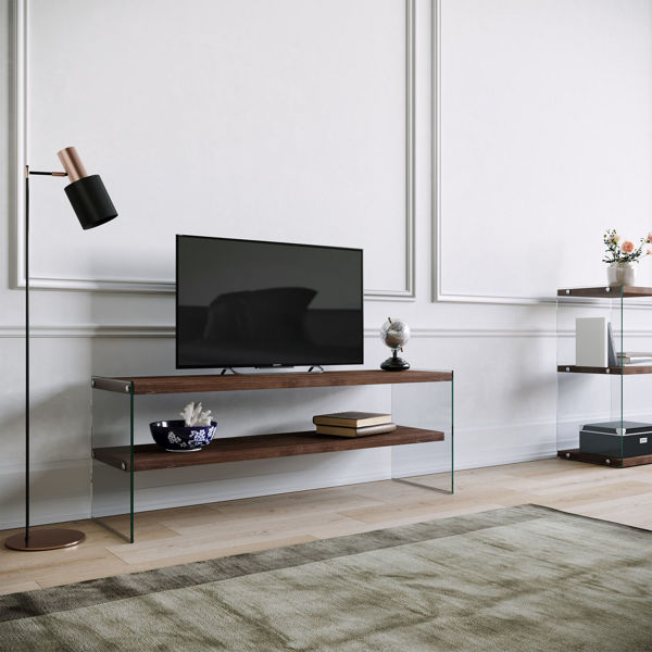 Picture of Nancy's Security-Widefield TV Furniture - Modern - Brown - Solid Wood, Tempered Glass - 35 cm x 120 cm x 45 cm