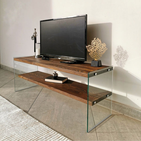 Picture of Nancy's Issaquah TV Furniture - Modern - Brown - Solid Wood, Tempered Glass - 35 cm x 120 cm x 45 cm