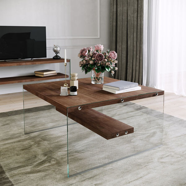 Picture of Nancy's Waipahu Coffee Table - Modern - Brown - Solid Wood, Tempered Glass - 75 cm x 75 cm x 40 cm