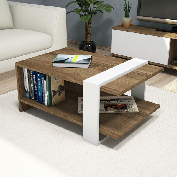 Picture of Nancy's Crestview Coffee Table - Scandinavian - Brown, White - Fabricated Wood - 35 cm x 80 cm x 35 cm