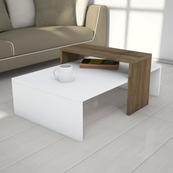 Picture of Nancy's Horizon West Coffee Table - Modern - Brown, White - Fabricated Wood - 50 cm x 80 cm x 31.8 cm