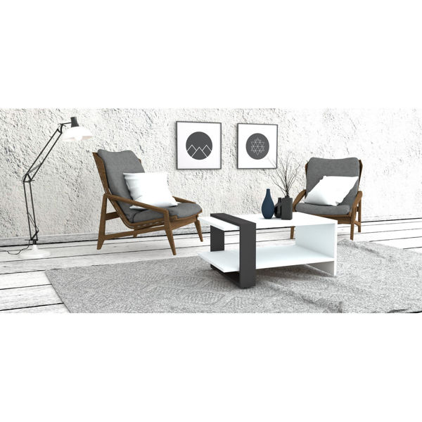 Picture of Nancy's Sun City Coffee Table - Modern - White, Grey - Fabricated Wood - 55 cm x 80 cm x 35 cm