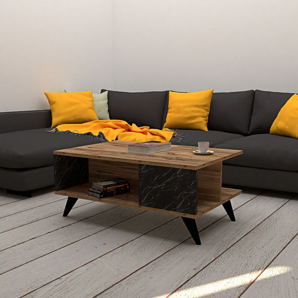 Picture of Nancy's Land O' Lakes Coffee Table - Modern - Brown, Black - Fabricated Wood - 60 cm x 90 cm x 39.9 cm