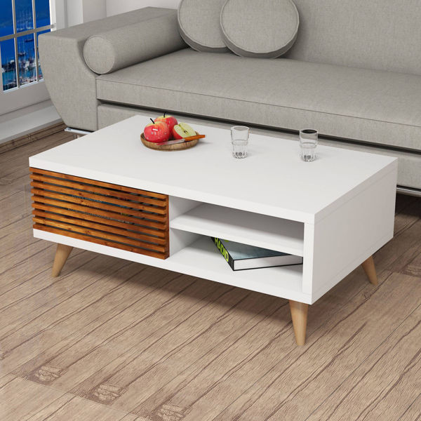 Picture of Nancy's Eagle Mountain Coffee Table - Modern - White, Brown - Fabricated Wood, Solid Wood - 60 cm x 100 cm x 42 cm