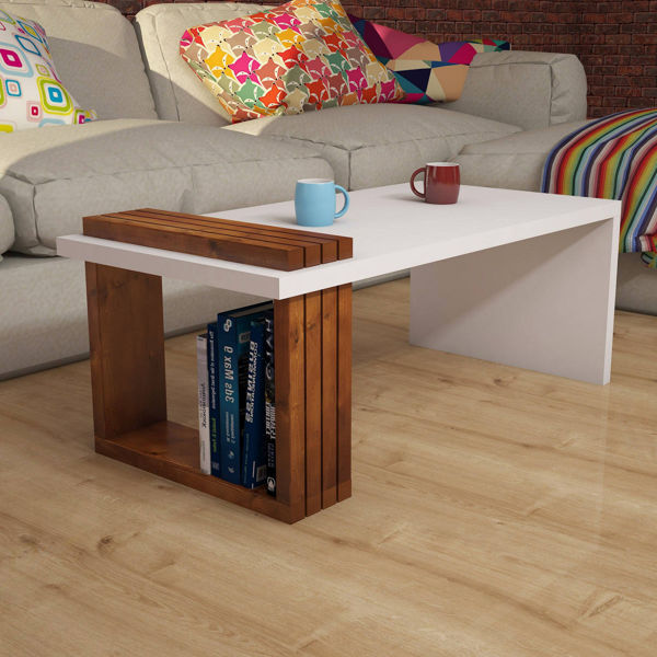 Picture of Nancy's Waxahachie Coffee Table - Modern - White, Brown - Fabricated Wood, Solid Wood - 50 cm x 100 cm x 38 cm