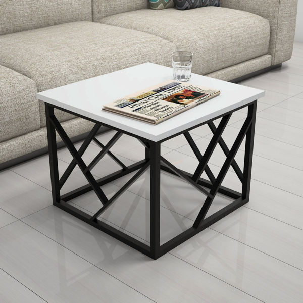 Picture of Nancy's Mission Bend Coffee Table - Industrial - White, Black - Fabricated Wood, Metal - 53.5 cm x 53.5 cm x 41.8 cm