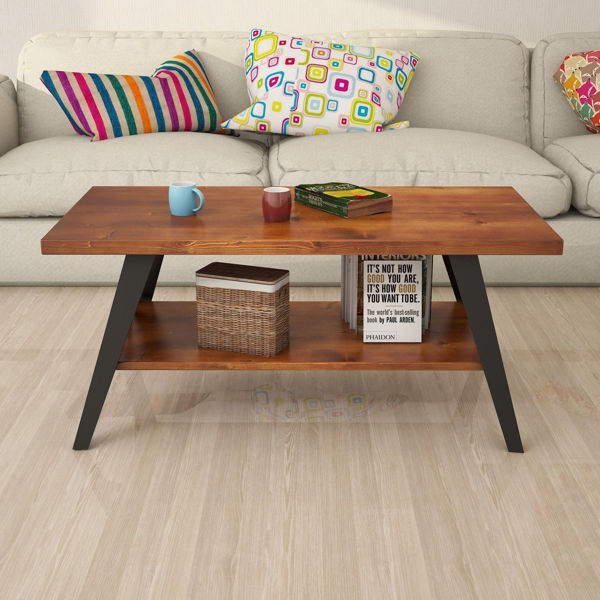 Picture of Nancy's Egypt Lake-Leto Coffee Table - Industrial - Brown, Black - Pinewood - 50 cm x 98 cm x 43 cm