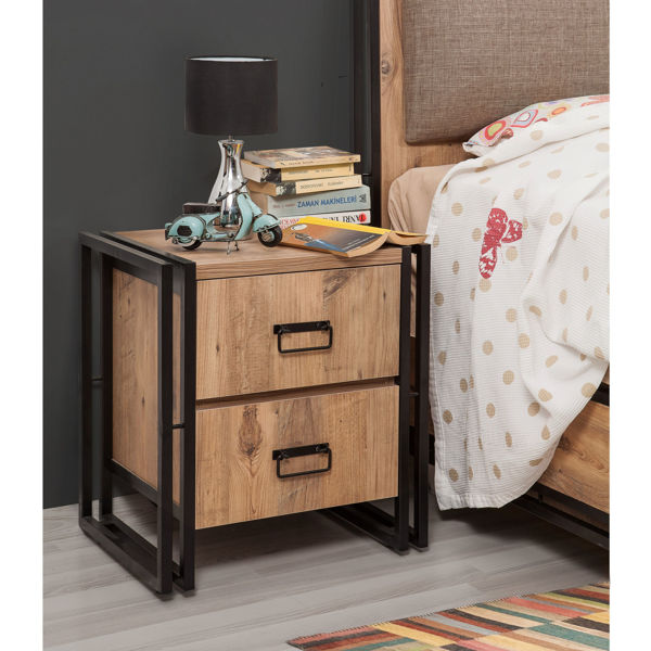 Picture of Nancy's Parkland Bedside Table - Industrial - Brown, Black - Fabricated Wood - 40 cm x 52 cm x 55 cm