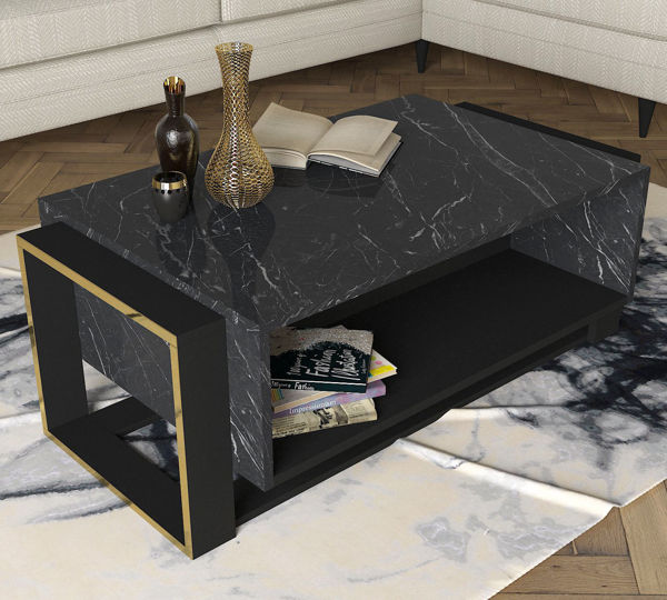 Picture of Nancy's Carpentersville Coffee Table - Modern - Black, Gold - Fabricated Wood - 60 cm x 106.4 cm x 40.4 cm