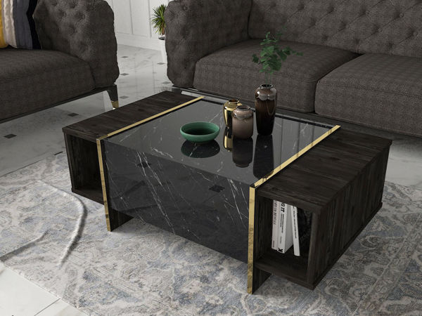 Picture of Nancy's Wildomar Coffee Table - Modern - Black, Gold - Fabricated Wood - 60 cm x 103.8 cm x 37.3 cm