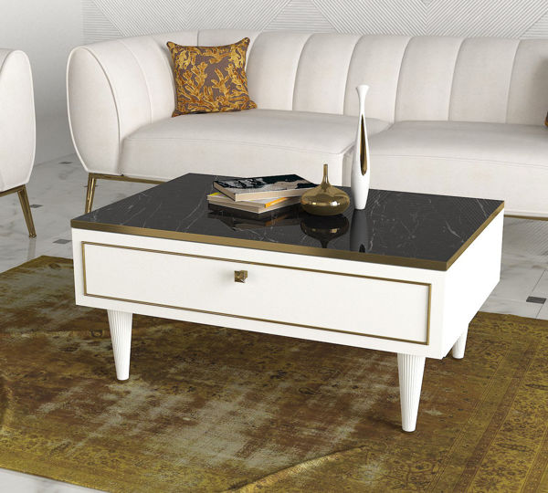 Picture of Nancy's West Fargo Coffee Table - Modern - White, Gold, Black - Fabricated Wood - 60 cm x 90 cm x 42.3 cm
