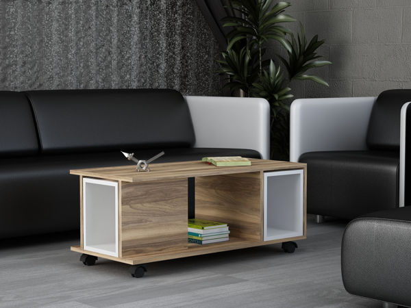 Picture of Nancy's Commack Coffee Table - Scandinavian - Brown, White - Fabricated Wood - 45 cm x 100 cm x 44 cm