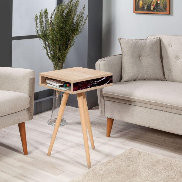 Picture of Nancy's Owings Mills Side table - Industrial - Brown, Bordeaux, White - Fabricated Wood, Hornbeam - 40 cm x 40 cm x 64 cm