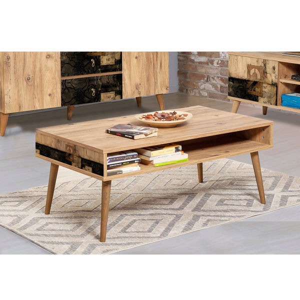 Picture of Nancy's Golden Glades Coffee Table - Scandinavian - Brown, Black - Fabricated Wood - 60 cm x 110 cm x 45 cm