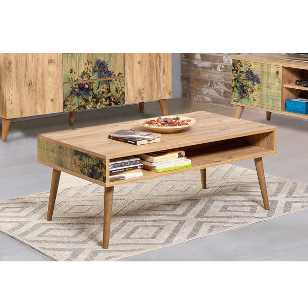 Picture of Nancy's University Place Coffee Table - Scandinavian - Brown, Green, Purple - Fabricated Wood - 60 cm x 110 cm x 45 cm