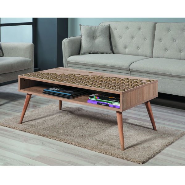 Picture of Nancy's Foster City Coffee Table - Scandinavian - Brown, Gold - Fabricated Wood - 60 cm x 110 cm x 45 cm
