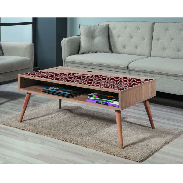 Picture of Nancy's Cottonwood Heights Coffee Table - Scandinavian - Brown, Bordeaux - Fabricated Wood - 60 cm x 110 cm x 45 cm