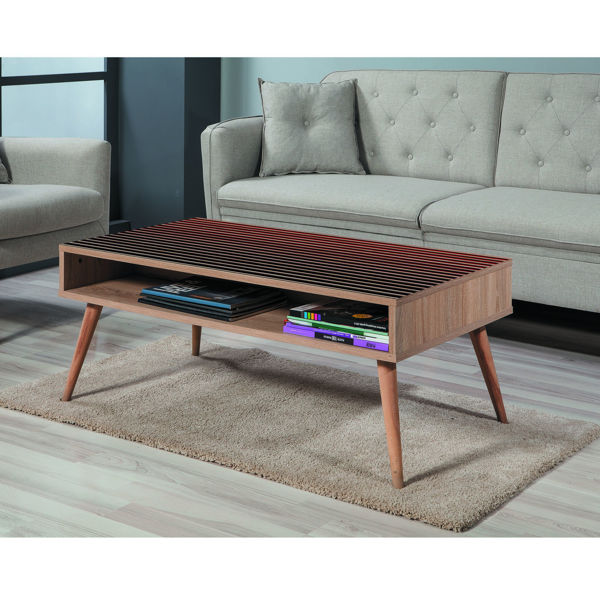 Picture of Nancy's Midlothian Coffee Table - Scandinavian - Brown, Black, Red - Fabricated Wood - 60 cm x 110 cm x 45 cm