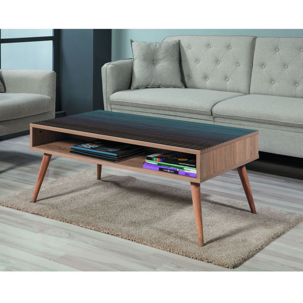 Picture of Nancy's Pikesville Coffee Table - Scandinavian - Brown, Black, Blue - Fabricated Wood - 60 cm x 110 cm x 45 cm