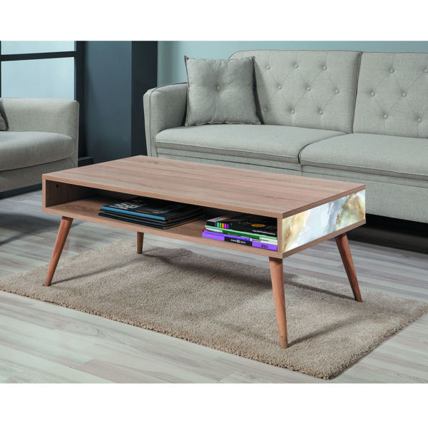Picture of Nancy's Fair Oaks Coffee Table - Scandinavian - Brown, White, Gold - Fabricated Wood - 60 cm x 110 cm x 45 cm