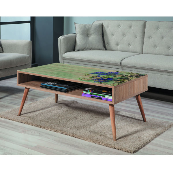 Picture of Nancy's Ferry Pass Coffee Table - Scandinavian - Brown, Green, Blue - Fabricated Wood - 60 cm x 110 cm x 45 cm