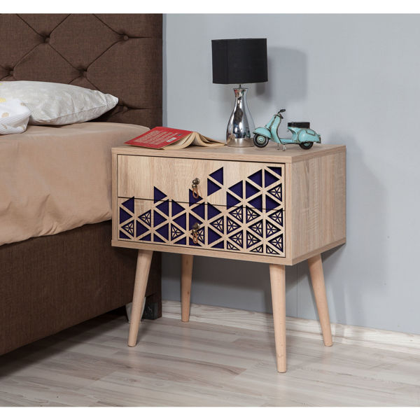 Picture of Nancy's Apollo Beach Bedside Table - Modern - Brown, Blue - Fabricated Wood, Metal - 40 cm x 60 cm x 61 cm
