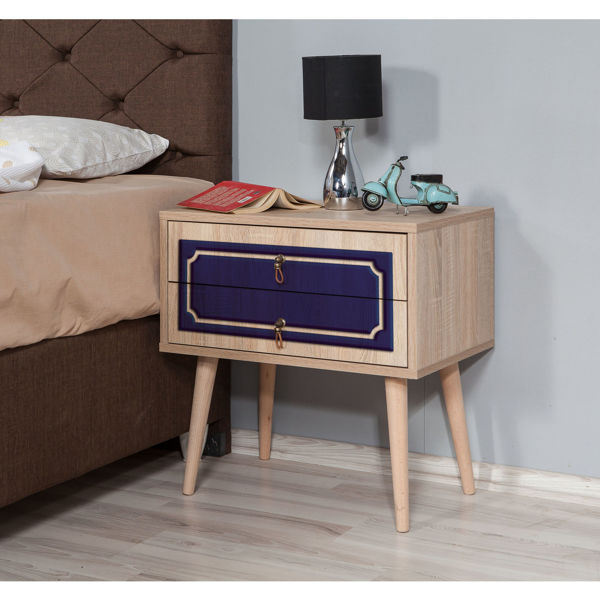 Picture of Nancy's Cameron Park Bedside Table - Modern - Brown, Blue - Fabricated Wood, Metal - 40 cm x 60 cm x 61 cm