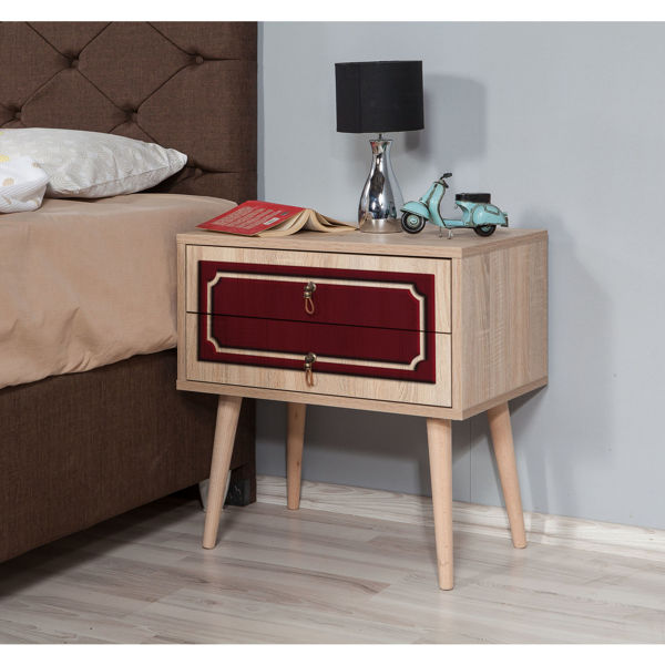 Picture of Nancy's Evergreen Park Bedside Table - Modern - Brown, Red - Fabricated Wood, Metal - 40 cm x 60 cm x 61 cm
