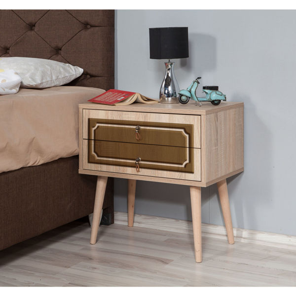 Picture of Nancy's Brook Park Bedside Table - Modern - Brown - Fabricated Wood, Metal - 40 cm x 60 cm x 61 cm