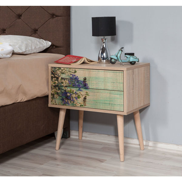 Picture of Nancy's Franklin Park Bedside Table - Modern - Brown, Green, Purple - Fabricated Wood, Metal - 40 cm x 60 cm x 61 cm