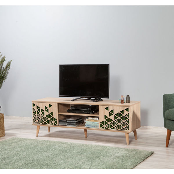 Picture of Nancy's West Puente Valley TV Furniture - Modern - Brown, Green - Fabricated Wood, Metal - 40 cm x 140 cm x 50 cm