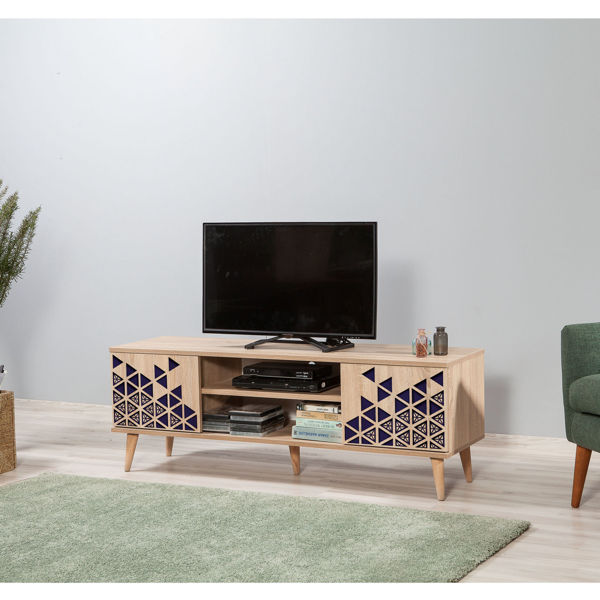 Picture of Nancy's Happy Valley TV Furniture - Modern - Brown, Blue - Fabricated Wood, Metal - 40 cm x 140 cm x 50 cm
