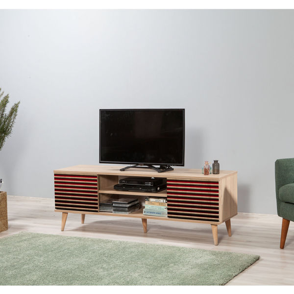 Picture of Nancy's Golden Valley TV Furniture - Modern - Brown, Red - Fabricated Wood, Metal - 40 cm x 140 cm x 50 cm