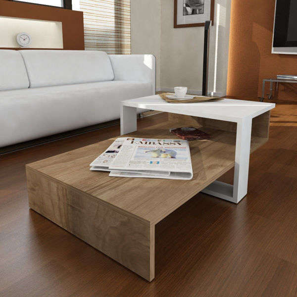 Picture of Nancy's Central Islip Coffee Table - Modern - Brown, White - Fabricated Wood - 43.6 cm x 80 cm x 32.6 cm