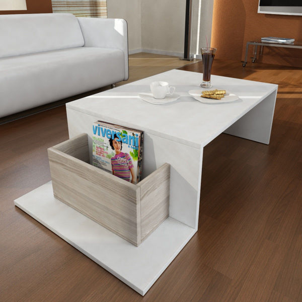 Picture of Nancy's West Falls Church Coffee Table - Modern - Brown, White - Fabricated Wood - 60 cm x 106.8 cm x 32 cm