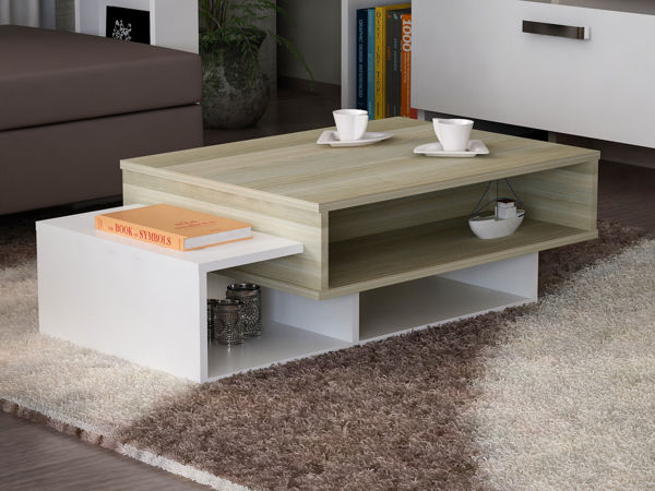 Picture of Nancy's East Palo Alto Coffee Table - Design - White, Brown - Fabricated Wood - 60 cm x 105 cm x 32 cm
