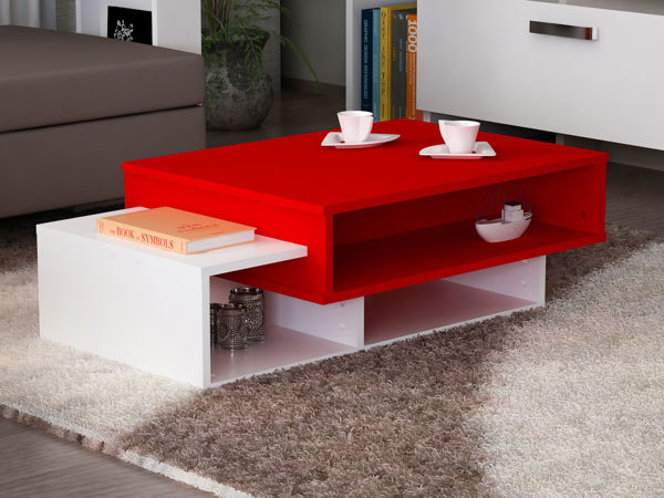Picture of Nancy's North Attleborough Coffee Table - Design - White, Red - Fabricated Wood - 60 cm x 105 cm x 32 cm