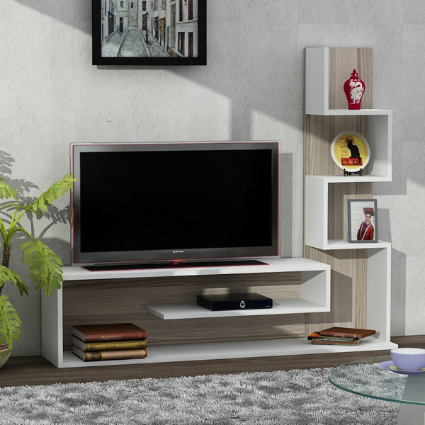Picture of Nancy's Casselberry TV Furniture - Design - White, Brown - Fabricated Wood - 29.5 cm x 149.5 cm x 120.8 cm