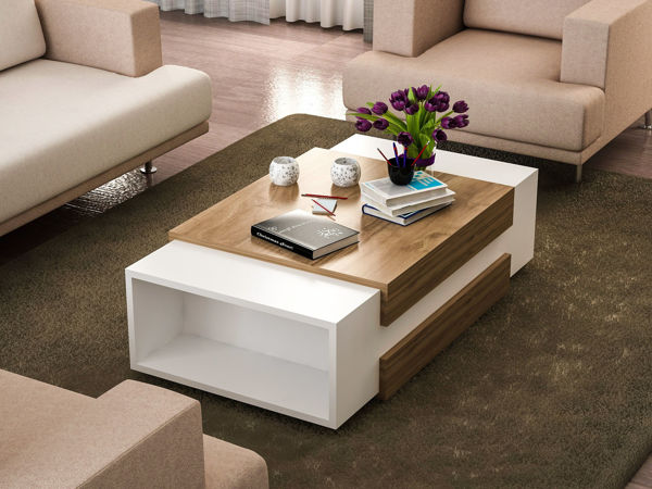 Picture of Nancy's South Laurel Coffee Table - Design - White, Brown - Fabricated Wood - 61 cm x 110 cm x 21 cm