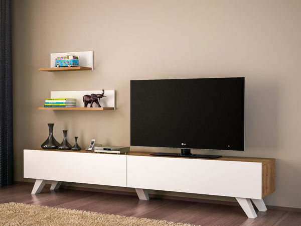 Picture of Nancy's Lake in the Hills TV Furniture - Design - White, Brown - Fabricated Wood - 29.5 cm x 180 cm x 32.6 cm