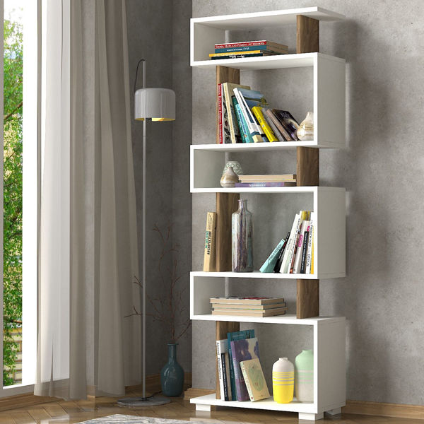 Picture of Nancy's Austintown Bookcase - Design - White, Brown - Fabricated Wood - 19.5 cm x 60 cm x 165 cm