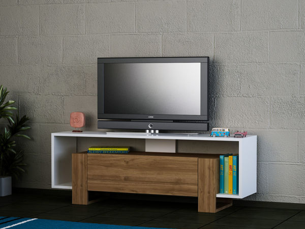 Picture of Nancy's Vernon Hills TV Furniture - Modern - White, Brown - Fabricated Wood - 33.2 cm x 120 cm x 48.6 cm