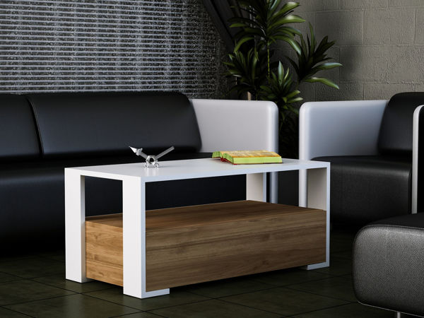 Picture of Nancy's Bay Point Coffee Table - Modern - White, Brown - Fabricated Wood - 44.6 cm x 90 cm x 40 cm