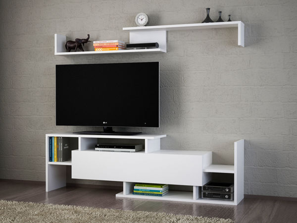 Picture of Nancy's Leisure City TV Furniture - Modern - White - Fabricated Wood - 25 cm x 150 cm x 42 cm