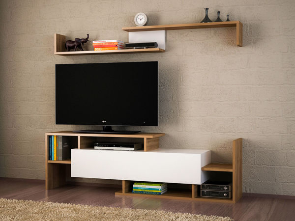 Picture of Nancy's Haines City TV Furniture - Modern - White, Brown - Fabricated Wood - 25 cm x 150 cm x 42 cm