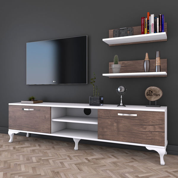 Picture of Nancy's Forest Grove TV Furniture - Modern - White, Brown - Fabricated Wood - 30 cm x 150 cm x 43.7 cm